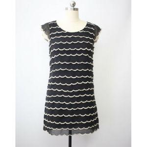 betsey johnson silk tiered scallop shift dress